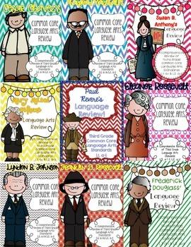 Famous Americans Common Core Language Arts Review {BUNDLE!}