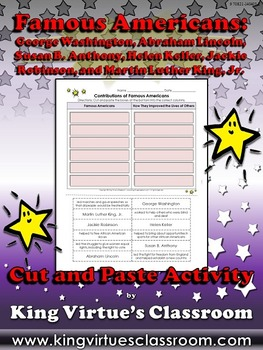 Famous Americans: Contributions Cut and Paste Activity #2 - Susan B. Anthony