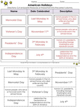 Holidays: American Holidays Cut and Paste Activity - Memorial Day, Veteran's Day