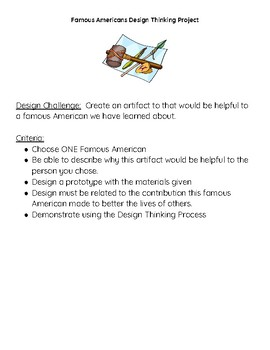 Famous Americans Design Thinking Project STEM Computer Science