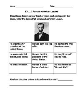 History VA SOL Famous Americans First Grade
