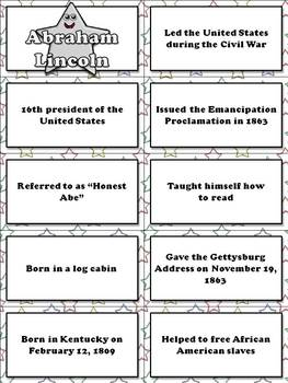 Famous Americans: George Washington and Abraham Lincoln Matching Game Sort