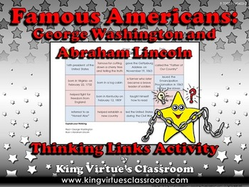 Famous Americans: George Washington and Abraham Lincoln Thinking Links Activity