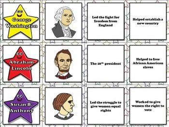 Famous Americans: Helen Keller, Jackie Robinson, etc. Matching Game Sort
