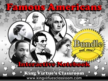 Famous Americans: Interactive Notebook BUNDLE - Helen Keller Jackie Robinson etc