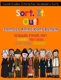 Famous Americans Interactive Vocabulary Sorts bundle