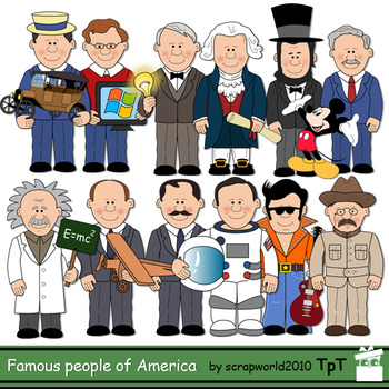 Famous Americans, Inventors,Presidents Clip Art 12 Historical characters+BW