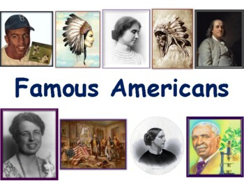 Famous Americans Lesson & Flashcards-task cards, study gui