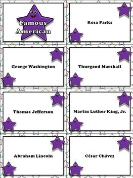 Famous Americans: Martin Luther King, Jr., Rosa Parks, etc. Matching Game Sort