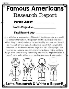 Famous Americans Report w/ Optional Visual Display: Research Students will Love!