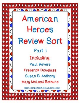 Famous Americans Sort (includes Revere, Douglass,Anthony,
