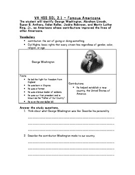 Famous Americans Study Guide VA HSS SOL 2.11