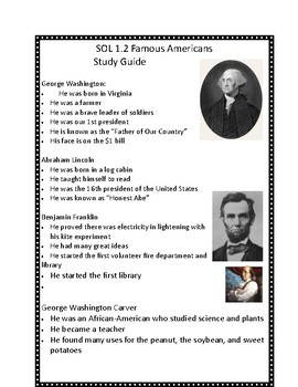 Famous Americans Study Guide- VA SOL 1.2