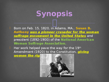 The Women's Movement - Susan B Anthony