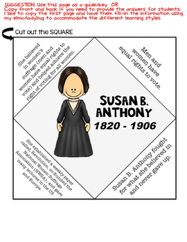 Famous Americans: Susan B. Anthony Activities & Interactive Notebook