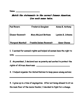 Famous Americans Test, Review, Study Guide 3rd Grade Socia