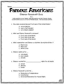 Famous Americans Unit Assessments