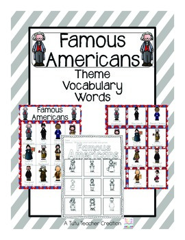 Famous Americans Vocabulary Cards