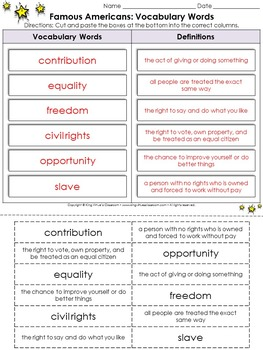 Famous Americans: Vocabulary Cut and Paste Activity - King Virtue's Classroom