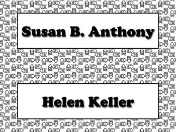 Famous Americans Vocabulary Strips - Susan B. Anthony Helen Keller Owls