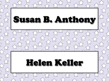 Famous Americans Vocabulary Strips - Susan B. Anthony Helen Keller Superstars