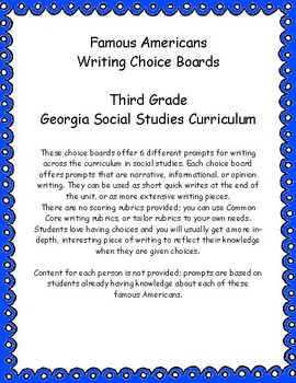 Famous Americans Writing Choice Boards Third Grade