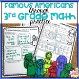3rd Grade Math Worksheets with Famous Americans Bundle