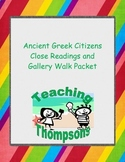 Famous Ancient Greek Citizens, Four Close Reading and Gallery Walk Activity