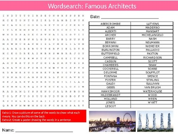 Famous Architects Wordsearch Puzzle Sheet Keywords Architecture
