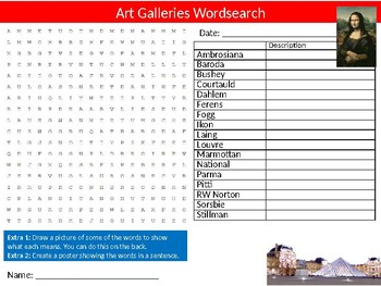 Famous Art Galleries Wordsearch Puzzle Sheet Keywords Artists