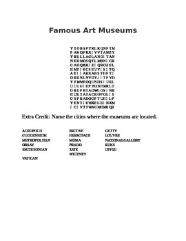 Famous Art Museums Word Search