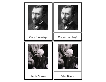 Famous Artist Three Part Cards