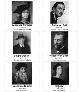 Famous Artists Cards for Art Cards matching and sorting set