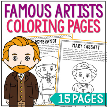 Famous Artists Coloring Page Crafts or Posters with Inform