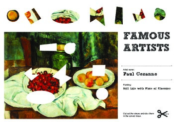 Famous Artists Cut and Paste Worksheet - Cezanne - Plate of Cherries