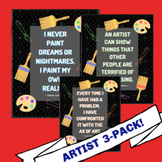 Famous Artists Quote Posters 3 Pack (Chalkboard A)