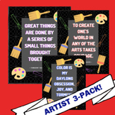 Famous Artists Quote Posters 3 Pack (Chalkboard B)