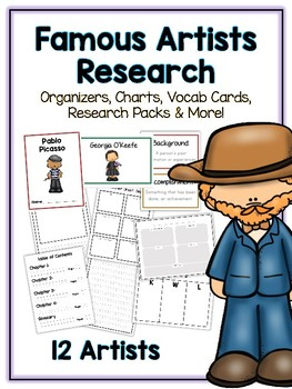 Famous Artists Research Project - 12 People, Vocab Cards, Packet, Book + More!