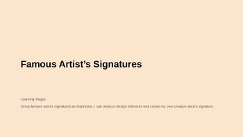 Famous Artist's Signatures - One Day Art lesson