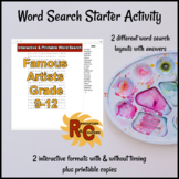 Famous Artists Word Search Puzzles G9-12