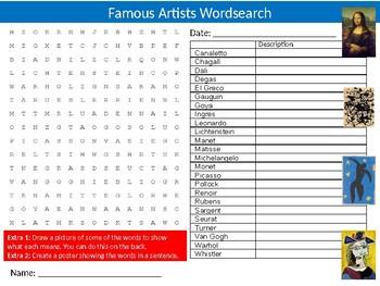Famous Artists Wordsearch Sheet Starter Activity Keywords Art Design