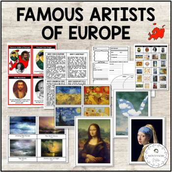 Famous Artists of Europe Pack - Bio | 3-Part Cards | Display Art Work | Sort