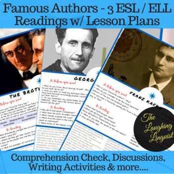 Famous Authors - 3 ESL/ELL Readings w/ activities and lesson plans