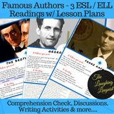 Famous Authors - 3 Lesson Reading Bundle w/ activities and