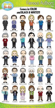 Famous Authors Characters Clip Art Bundle Pack — Includes
