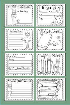 Famous Authors Research Booklets - Poets & Authors of Children's Literature
