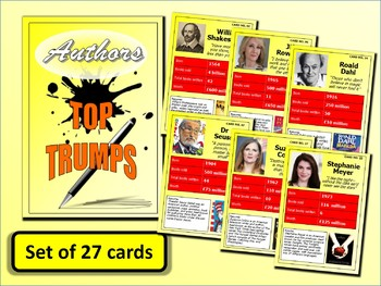 Famous Authors Top Trumps Card Game set of 27 PDF English Lessons