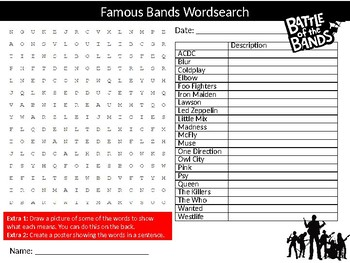 Famous Bands Wordsearch Sheet Music Starter Activity Keywords Homework