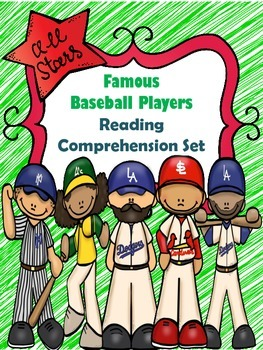 Famous Baseball Player Reading Comprehension passages with comprehension pages