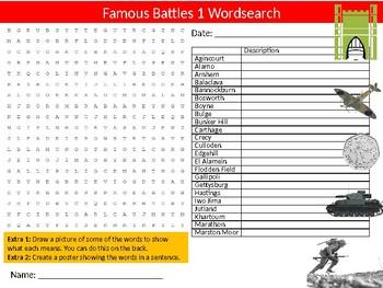 Famous Battles #1 Wordsearch Sheet Starter Activity Keywords History